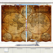 Antiques Old World Map Kitchen Window Curtain Window Treatment Sets Drapes