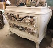 Vintage Italian Country End Side Table Cottage White Grotto Sea Shells