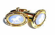 Wedgwood Jewelry Gold-plated Light Blue And White Jasper Cameo Cufflinks -horse