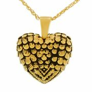 18k Solid Gold Winged Heart Pendant/necklace Funeral Cremation Urn For Ashes