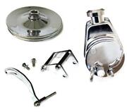 Chevy Chrome Saginaw Power Steering Pump + Bracket And 1 Groove Pulley Short Pump