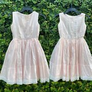 Vintage 50andrsquos Dress Girls Pink Full Circle Skirt Rockabilly Party Pageant Church