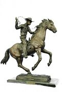 Old School Hot Cast Western Cowboy With His Horse Bronze Sculpture Marble Base