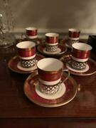 6 Crown Staffordshire China Lichfield Gilt Demitasse Cups And Saucers Silver Mo
