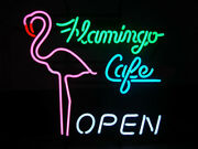 Neon Signs Flamingo Cafe Open Beer Bar Pub Store Party Room Wall Decor 19x15