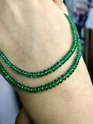 4 Mm Natural Zambia Emerald Smooth Rondelle Beads Precious Gemstone 14 Strand