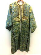 Religious Tunic Old Early Blue Gold Embroidered Silk Fabric Mediterranean Estate
