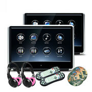 2pcs 11.6 Car Active Headrest Mount Monitor Dvd Player Game Hdmi +kids Headsets