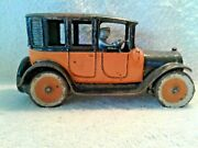 1920's Arcade 9 Inch Yellow Cab Cast Iron Taxi W/ Bolted In Driver Cast Wheels