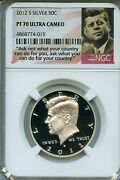 2012 S Silver Kennedy Half Ngc Pf70 Ultra Cameo 50 Cent Proof Graded Coin C12