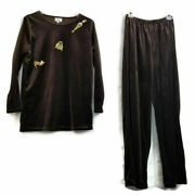 Personality By Mary Duffy Brown Velour 3 Pc Set Pant Top Cape Sz S Embellished