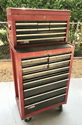 Vintage 1970and039s Classic Craftsman Mechanics Rolling Tool Cabinet And Chest