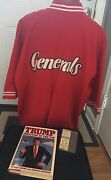 Donald Trump Game-worn Generals Warm-up 1st Game Ticket Signed Book Hologram Coa