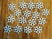 Set Of 16 White Metal Snowflake Ornaments With A Clear Faux Rhinestone Drop
