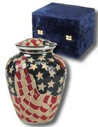 Patriotic American Flag Painted Adult Brass Funeral Cremation Urn W. Velvet Box