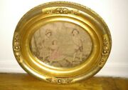 Antique 19thc Victorian Oval Wooden Picture Frame With Tapestry For Painting