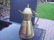 Small Islamic Arabic Brass Jug Or Tea Pot Etched With Egyptian Head And Pyramids.