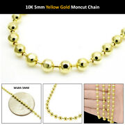 10k Yellow Gold 5mm Diamond Cut Military Dog Tag Chain Moon Bead Necklace 20-28