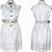 Fendi Cut Out Patent Floral Lace White Gabardine Dress And Oversize Buckle Belt