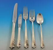 Garnet Rose By Lunt Sterling Silver Flatware Set For 8 Service 44 Pieces Scarce