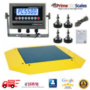 Op-960 Pancake Floor Scale 4and039 X 4and039 Pallet Scale 2500 Lb Ramps 360 Degrees