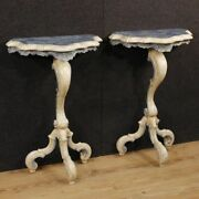 Pair Venetian Consoles Furniture Side Table Lacquered Painted Wood Antique Style