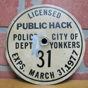 1970s Public Hack Police Dept City Of Yonkers Ny Taxi Cab License Plate Sign