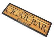 Personalized Cigar Bar Sign Rustic Cedar Wood Carved Signs Smoking Lounge