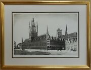The Cloth Hall Ypres. Etching By Listed Belgian Artist Marcel Schuette 1935
