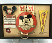 Disney Collector Pin Set Mickey Mouse Club Lanyard Plus Medal Plus 3 Pins Le 150