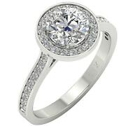 Solitaire Halo Engagement Ring I1 G 2.01 Ct Round Diamond 14k White Gold Rs 5-9