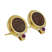 Replica Roman Coin Diamond And Ruby Earrings 14k Yellow Gold Clip-on