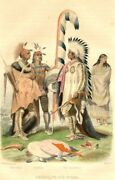 U.s.a - Different Chiefs Redskins In Meeting - Antique Colour Engraving 19th