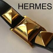 Hermes Watch Women Ldaies Collectible Accessory Authentic Black Gold F/s