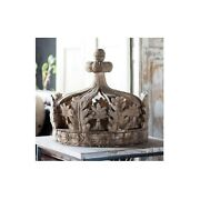 Giant Architectural Wooden Aged Royal Princess Crown Teester Antique