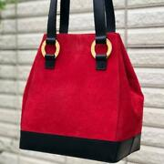 Celine Hand Bag Red Women Ladies Collectible Authentic Suede Shoulder Leather