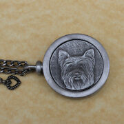 Pewter Keepsake Pet Memory Charm Cremation Urn With Chain - Yorkie