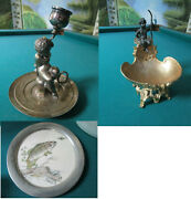Eugene Provost Angel Brass Dish -reed And Barton Silverplate Angel Candle Holder