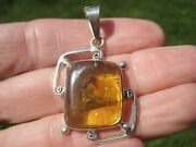 925 Silver Natural Chiapas Amber Pendant Insect Necklace Taxco A8366