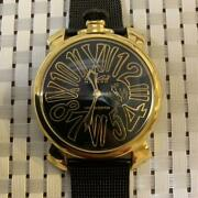 Gaga Milano Ana Model Watch Limited Edition Black/yellow Gold Made In Italy F/s