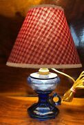 Vintage Reading Table Lamp Colbalt Blue Seaglass Mexico Handmade County Village