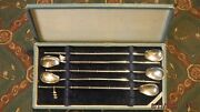 Set 5 Japanese Sterling Silver Mint Julep/ice Tea Bamboo Spoon Straws