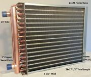 24x24 Water To Air Heat Exchanger1 Copper Ports W/ Ez Install Front Flange