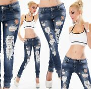 Womenand039s Jeans Trousers Skinny Eyelets Rings Sequin Destroyed Look Cracks Shreds