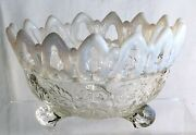 Northwood White Opalescent Shell And Wild Rose Candy Bowl