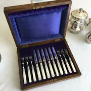 Made In England Collectible Table Knife Fork Set Rare Mother Of Pearl Silver