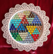 Art Object Plate Decorated With Multi-colored Glass Stones Handmade Russia