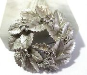 Shimmery Frosted Silver Tone Leaves Wreath Berries Brooch Pin Crown Trifari