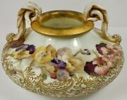 Outstanding Mt Washington Colonial Ware Fingertip Handled Bowl W/ Pansies And Gold