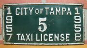 1950s City Of Tampa Taxi License 1957 1958 Embossed Metal Auto Truck Sign Plate